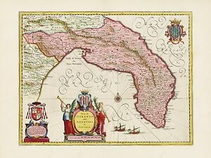 Otranto Italy Map.Old Vintage Otranto Region Italy Decorative Map Blaeu Ca 1655 Ebay