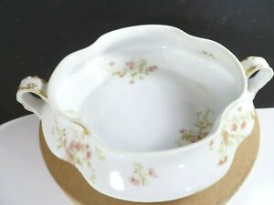 Vtg-Haviland-amp-Co-Limoges-French-Porcelain-Serving-Dish-Bowl-Pink-Flower-Blossom