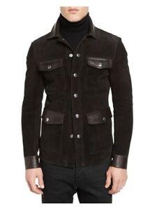 Brown Mens Leather Blazer Lambskin 2 Button size XS S M L XL XXL 3XL Custom Made