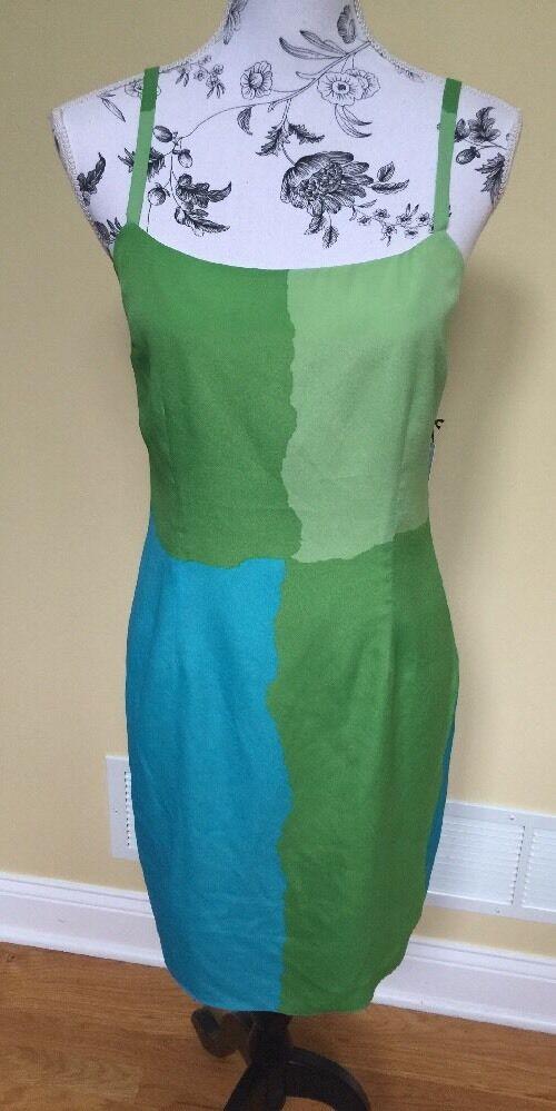 Susana Monaco Grün Blau Palm Tree Dress Größe 8