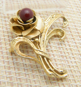 Red-Glass-Gold-Tone-Rose-Bouquet-Flower-Floral-Pin-Brooch-Vintage