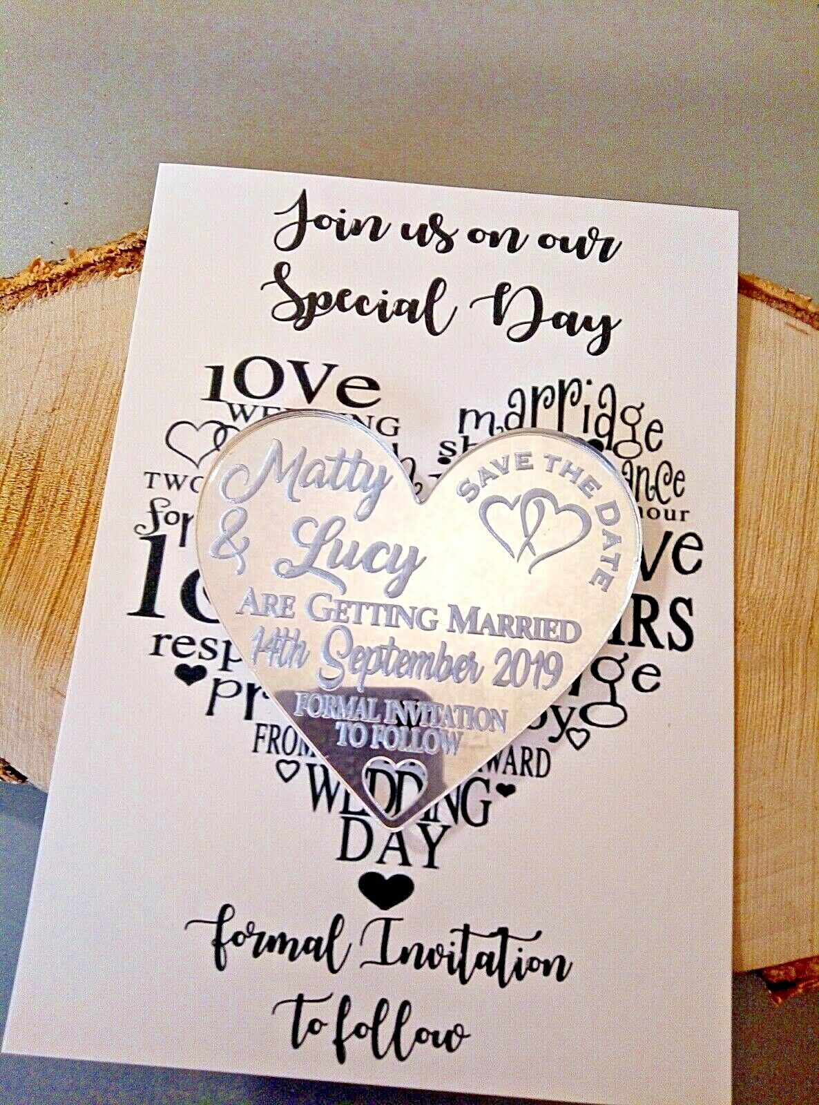 Save The Date Mirror Heart Fridge Magnet Mounted on Card with Envelope