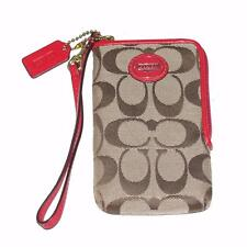 COACH~KHAKI~UNIVERSAL iPHONE CELL PHONE WRISTLET CASE BAG CARDS WALLET F66201
