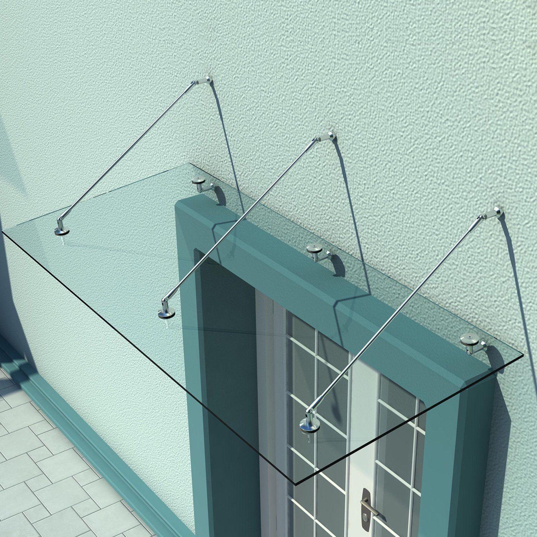 HOMCOM Glasvordach Haustür Vordach Türvordach Edelstahl Glas Klarglas VSG 200x90