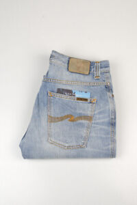32895 Nudie Jeans Slim Jim Sunny Used Bleu Clair Hommes Jean Taille 33/32