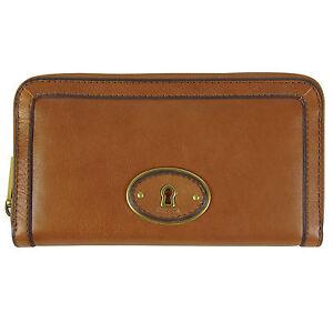 6b107b63e81ab Das Bild wird geladen FOSSIL-Leder-Geldboerse-Portemonnaie-Geldbeutel-ZIP- CLUTCH-Damen-