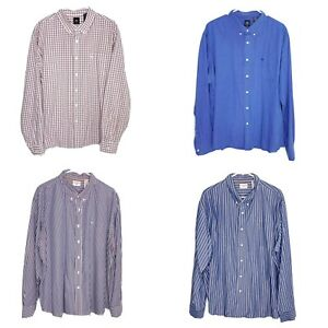 Dockers-2XL-Dress-Shirt-Mens-Long-Sleeve-Button-Front-Collared-Lot-of-4-Striped