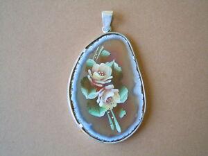 In Aroma Beliebte Marke Achat Anhänger Blumenmalerei Mit Silber Montur/rand 18,7 G/ 5,2 X 3,4 X 0,4 Cm Duftendes