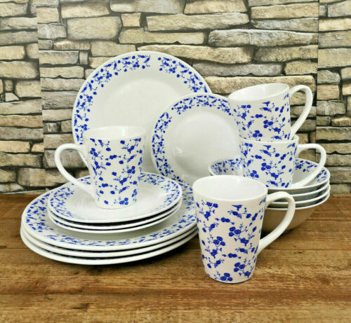 Blue Rose 16 Piece Dinner Set Porcelain Tableware Crockery Plates Bowls Mugs New