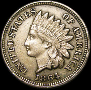 1864-Copper-Nickel-Indian-Head-Cent-Penny-TYPE-COIN-C930