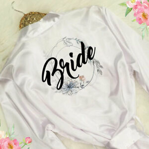 Hen-Bridal-Party-Bride-Wedding-Bridesmaid-Floral-Satin-Robe-Mother-Gown-Dressing
