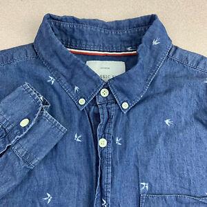 Brunswick-Button-Up-Shirt-Mens-Large-Blue-Long-Sleeve-Bird-Graphic-Casual