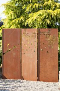 Gartenwand Sichtschutz Wand Triptychon Schwarm Stahl Rost 225x195 Cm
