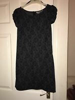 Dorothy Perkins Black & Grey Lace Effect Shift Dress - Size 6