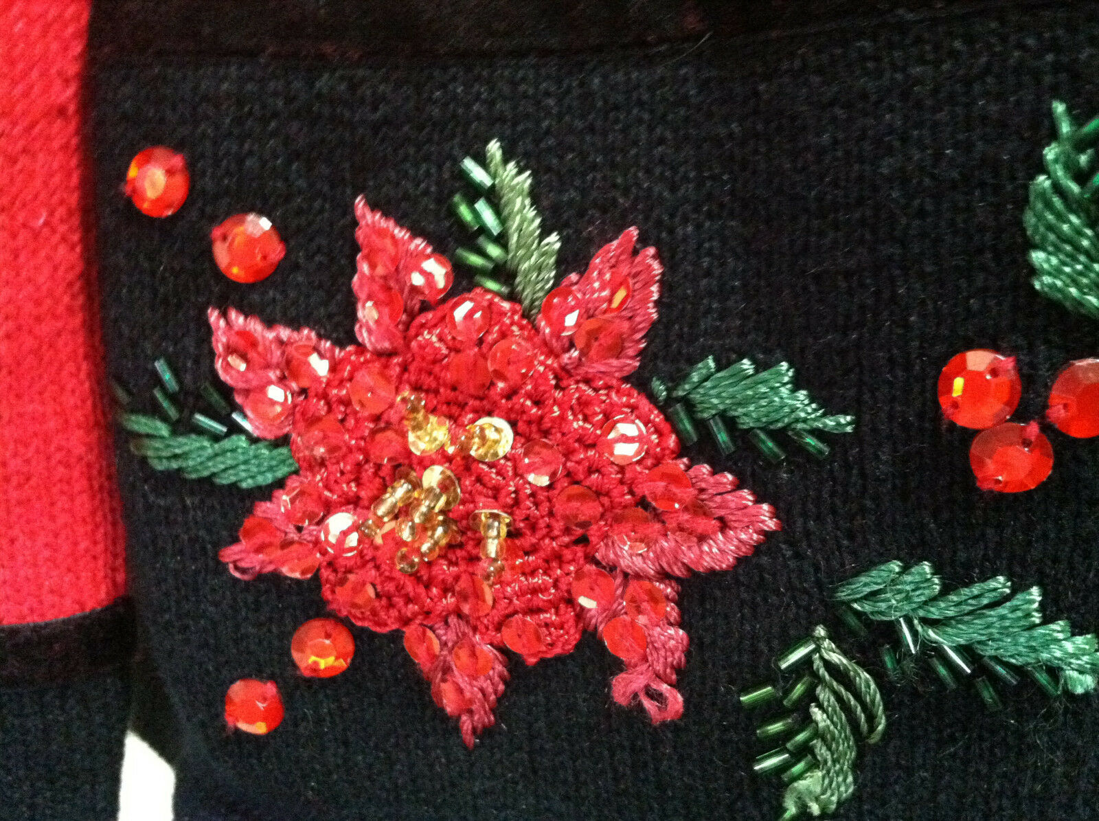 Tiara international international international Christmas sweater red Pointsettia sequin zip up cardigan M 0888f8