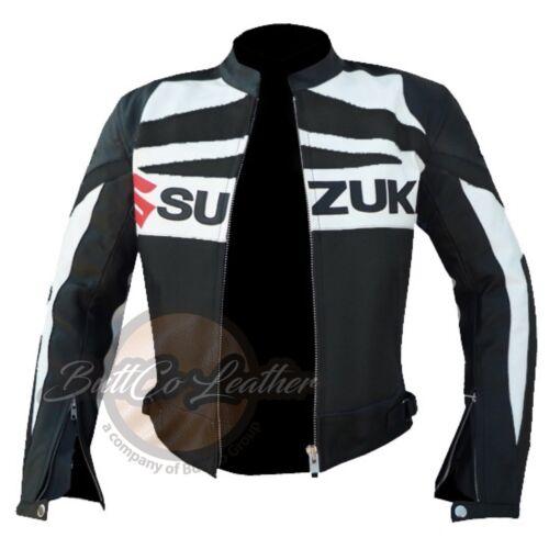 New Suzuki GSX Black Motorcycle Motorbike Biker Racing Leather Armoured Jacket