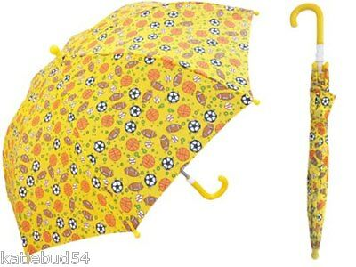 "SPORTS BALL Rain Sun 34/"" Arc KIDS Umbrella NEW Yellow Soccer Football basketball"