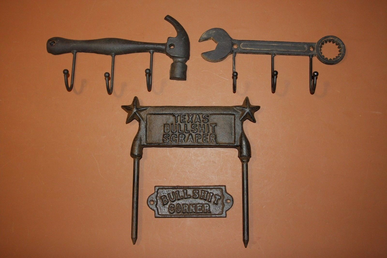 (4) Vintage-look Rustic Tools Coat Hat Wall Hooks, Cast Iron, BS Corner Sign
