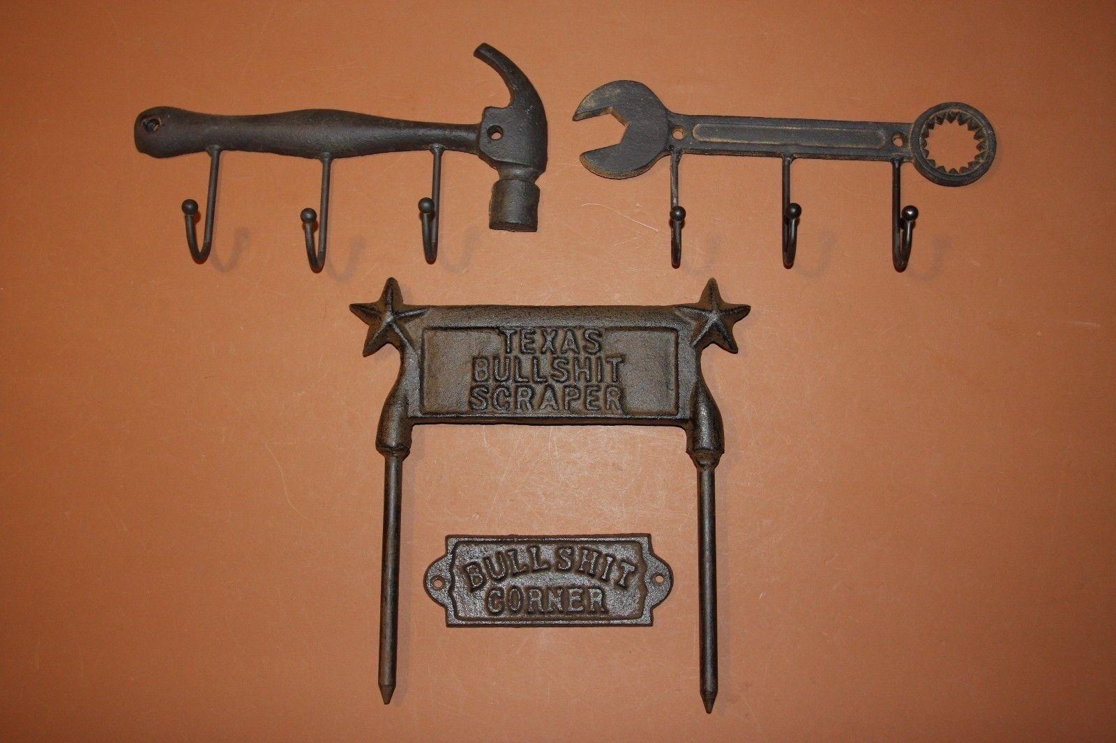 (4) Vintage-look Rustic Tools Coat Hat Wall Hooks, Cast Iron, BS Corner Sign