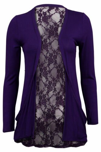 Ladies Full Lace Back Long Sleeve Open Front Boyfriend Cardigan Top Size 8-14