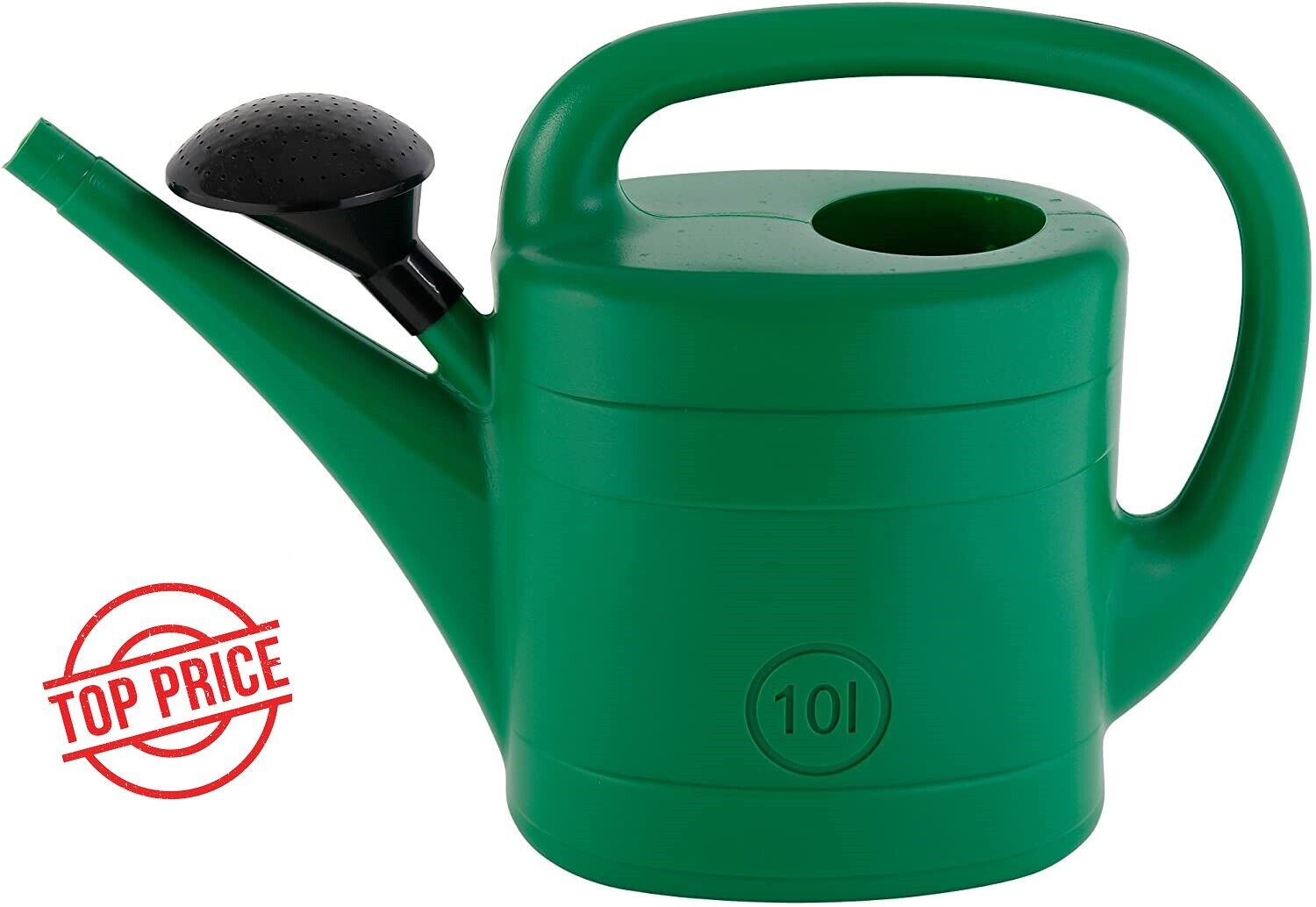 10 Liters Watering Can With Sprinkler Head Spring Spout Green Plastic