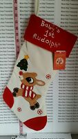 Baby's 1st Rudolph The Red Nosed Reindeer 18 Felt Christmas Stocking Child's