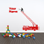 Personalised Fire Engine Truck Turntable Ladder Style Wall Decal Sticker Art