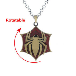 Spiderman-Necklace-Avengers-Venom-Metal-Rotatable-Spider-Man-Link-Chain-Pendant