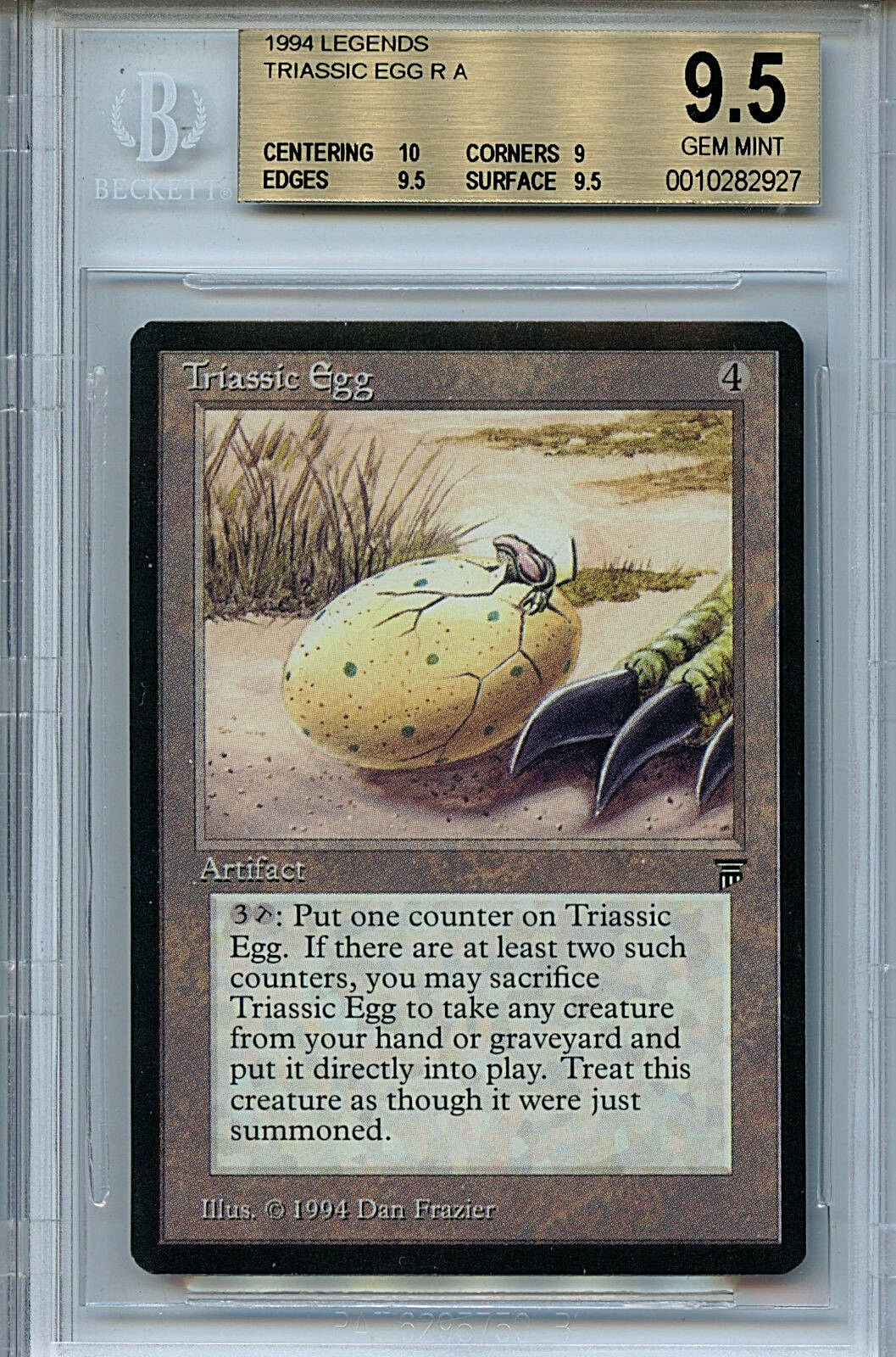 MTG Legends Triassic Egg BGS 9.5 Gem Mint card  with 10 Centering 2927