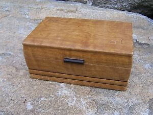 Vintage-Solid-Wood-Document-Jewelry-Trinket-Box-Mid-Century-Decor-Faux-Finish