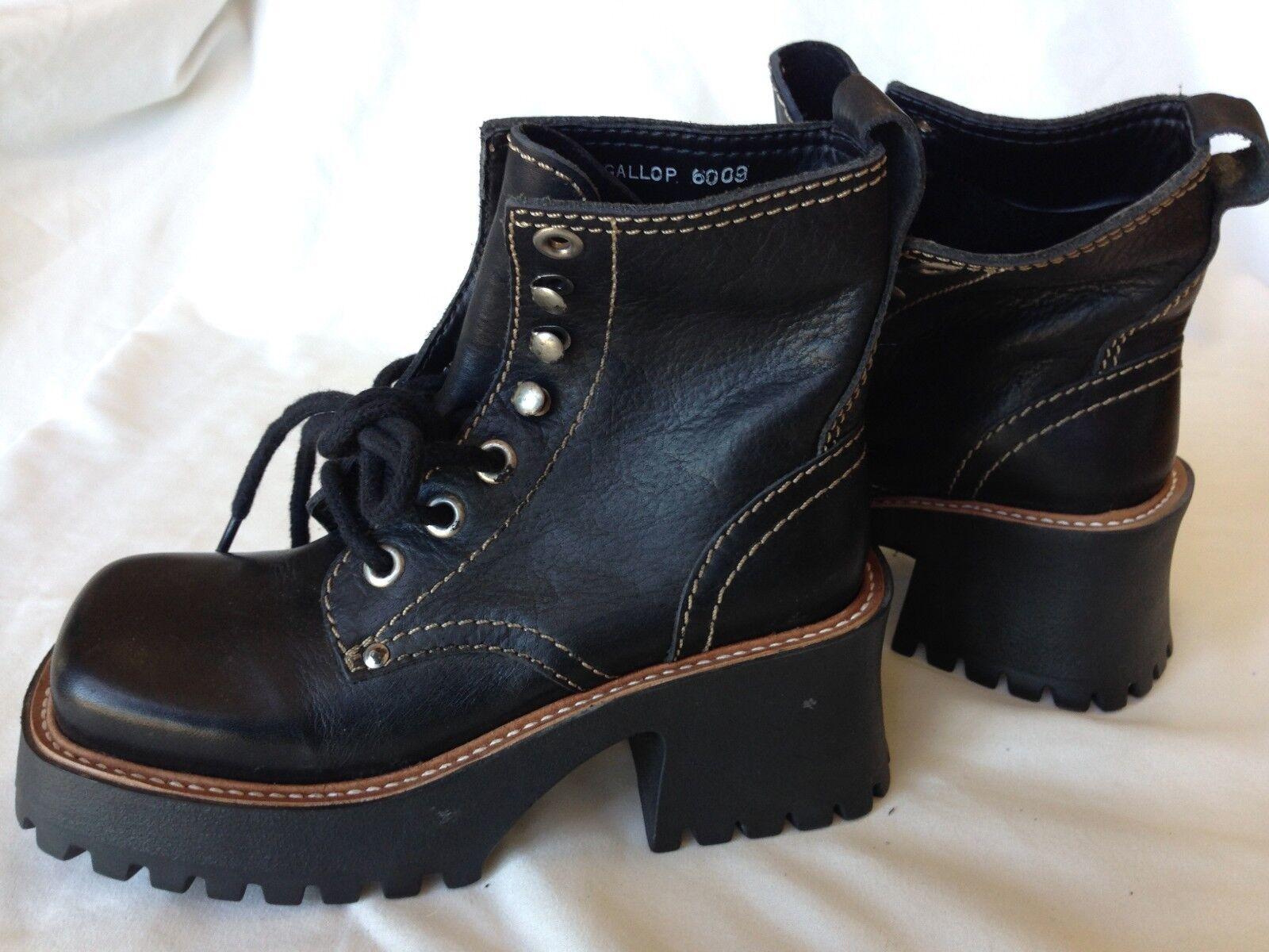 Basswood Gallop 6009 Black Leather Lace Up Platform Heel Boots New Punk Wm 5.5M