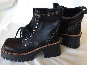 Basswood-Gallop-6009-Black-Leather-Lace-Up-Platform-Heel-Boots-New-Punk-Wm-5-5M