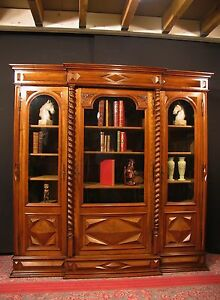 ancienne biblioth que louis xiii noyer vitrine meuble cabinet curiosit chasse ebay. Black Bedroom Furniture Sets. Home Design Ideas