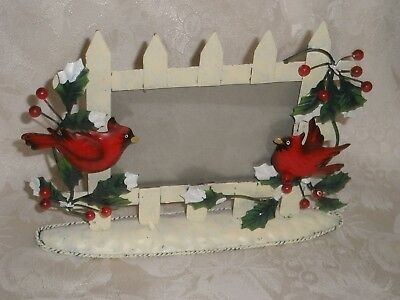 Christmas Cardinal Metal Picture Frame holds 4 x 6 Photo GUC