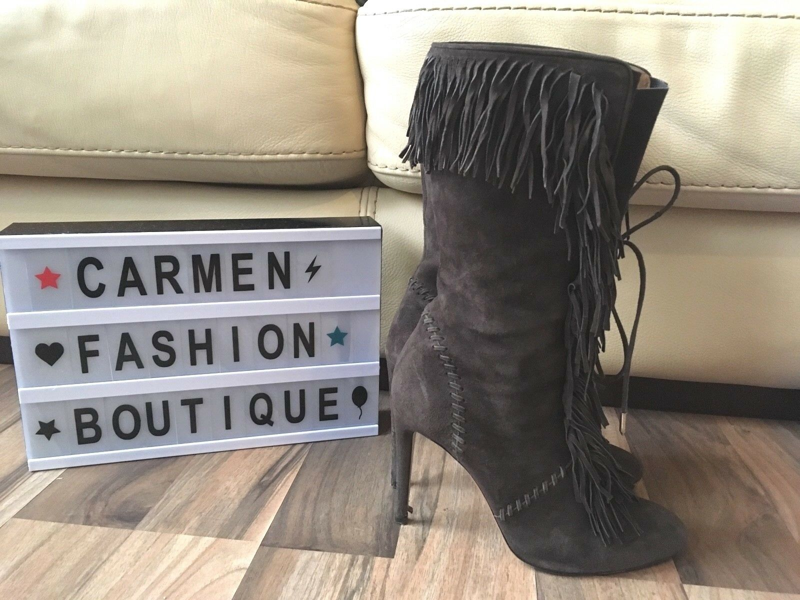 Authentic aquazzura Carly 105 Mitad de Pantorrilla Botas De Gamuza Marrón nos 7.5!