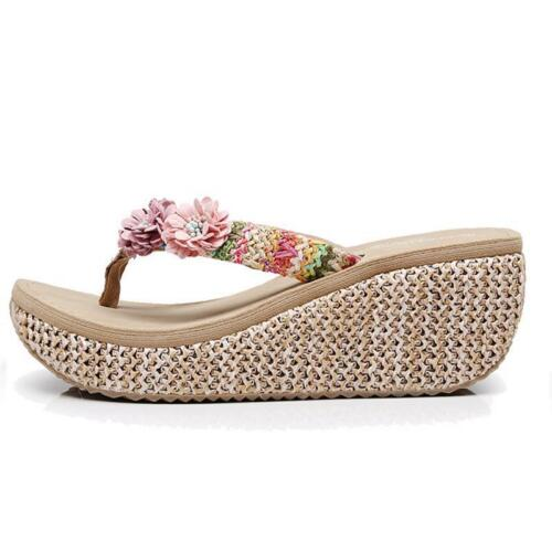 Summer Slippers New Fashion Clip Toes Flip Flops Wedge Sandals Casual Beachwear