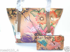 Anuschka Hand-Painted Leather Zip Top Tote w/ Card Case & Wallet Brown Safari