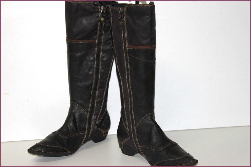 ERAM Boots Pointed Leather Black and Dark Brown Elasticated T 39