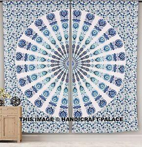 Indian peacock mandala curtain panel living room tab top - Curtain ideas for living room india ...