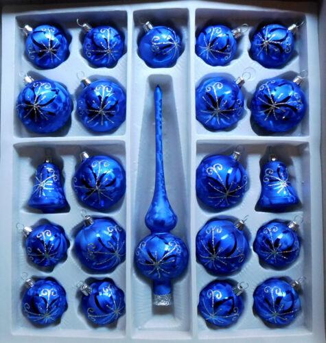 Sortiment 22 teilig Eislack Christbaumschmuck Set Spitze Kugeln Glocken Lauscha