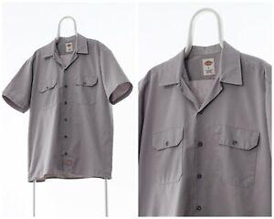 90s-Vintage-Mens-DICKIES-Workwear-Shirt-Short-Sleeve-Grey-Size-L