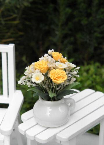 Miniature Dollhouse FAIRY GARDEN ~ Yellow Roses Flowers & Daisies in White Pot