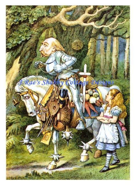 Alice In Wonderland w Knight & Armored Horse Fabric Block 5x7 or 8x10 Cotton