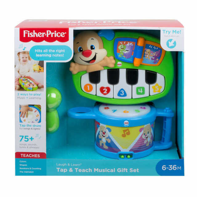 Fisher-Price Laugh & Learn TAP & TEACH MUSICAL GIFT SET DRUM PIANO Lights Sounds