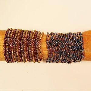 Set-of-2-Blue-Gold-Color-Multi-Strand-Handmade-Cleo-Stretch-Seed-Bead-Bracelets
