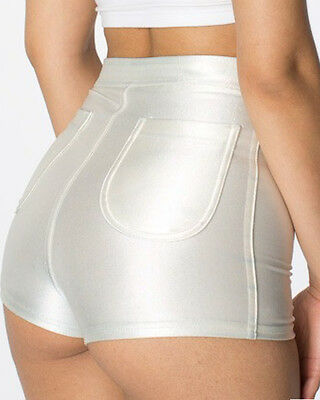 WOMES/LADIES HIGH WAISTED AMERICAN SHINY DISCO  SHORTS/HOT PANTS
