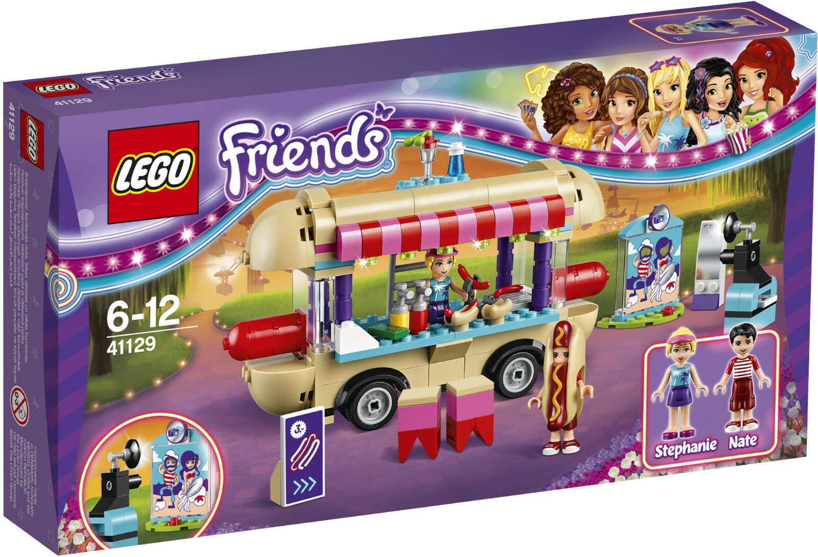 LEGO FRIENDS PARQUE DE ATRACCIONES FURGONETA DE PERRITOS CALIENTES 41129 - NUEVO