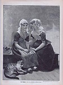 """Katze,Katzen, """"Drei Kätzchen"""" - Tracht Niederlande - Holzstich um 1900"""