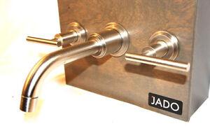 Jado-Widespread-Tub-Faucet-Lever-Handles-Satin-Nickel-STORE-DISPLAY-Wall-Mount