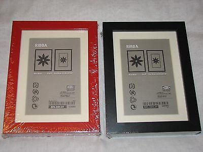 "NEW Set 2 IKEA Ribba 5x7 Frames Black Red 13080 14743 mat 13x18 cm or 3.5 x 5.5"""